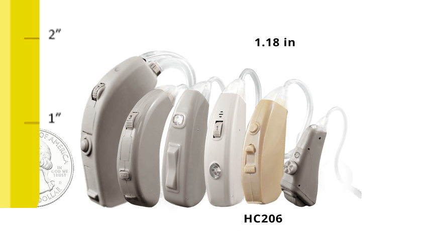 Refurbished HC206 Digital Hearing Aid Size Comparison