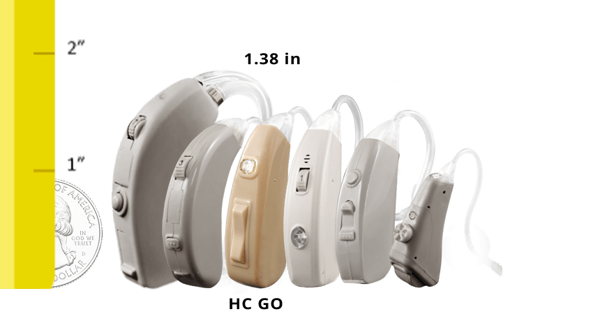 HearClear GO Rechargeable Digital Hearing Aid Size Comparison