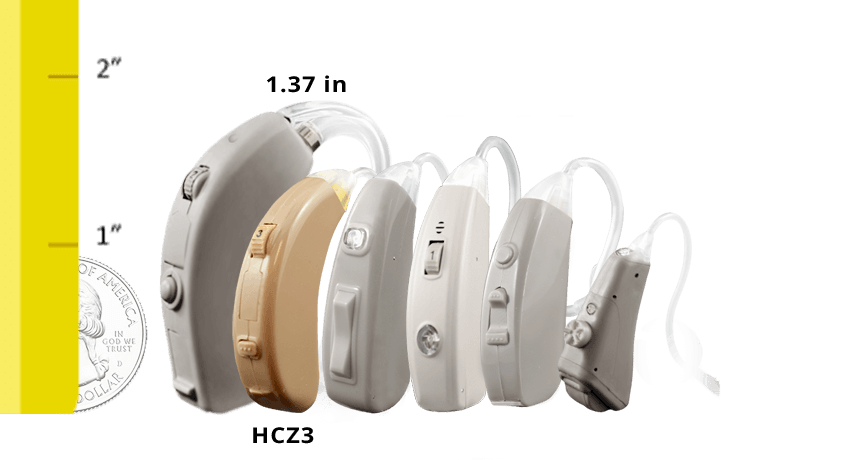 Refurbished HearClear HCZ3 Digital Hearing Aid SIze Comparison