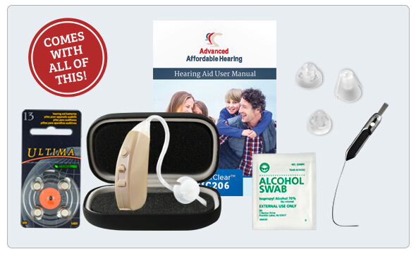 HC206 Digital Hearing Aid - What's in the box