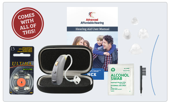 HCX Digital Hearing Aid Gray - What's in the box