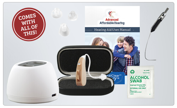 HearClear GO Rechargeable Digital Hearing Aid What's in the box