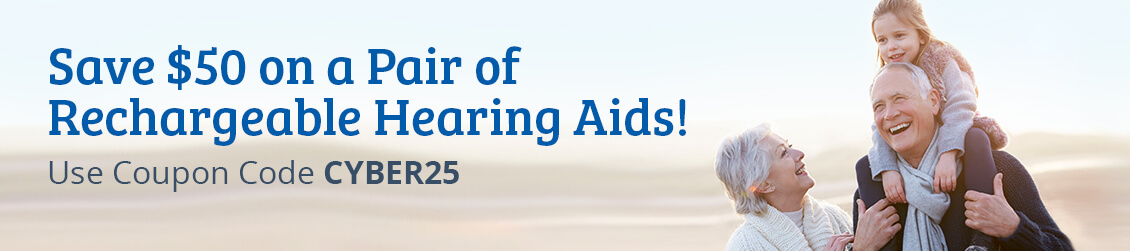 Save $50 on a Pair of Rechargeable Hearing Aids! Use Coupon Code CYBER25