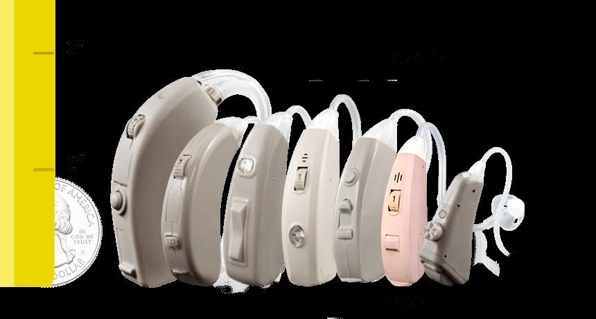 HCX2 Digital Hearing Aid Size Comparison