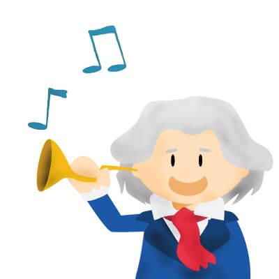 Beethoven using an ear trumpet for hearing loss