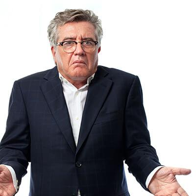 confused man can hear but can't understand words