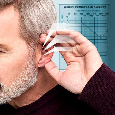 man suffering from high-frequency hearing loss, a common form of hearing loss