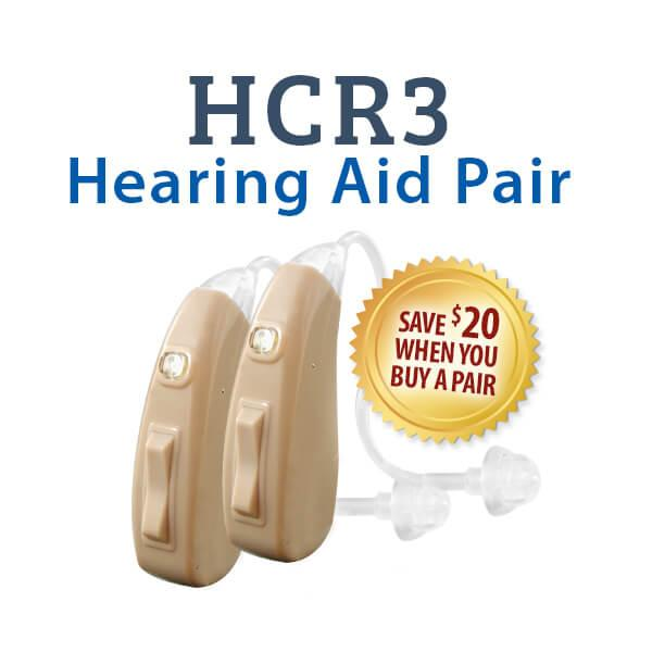 Save $20 when you buy a pair of HCR3 Rechargeable Hearing Aids
