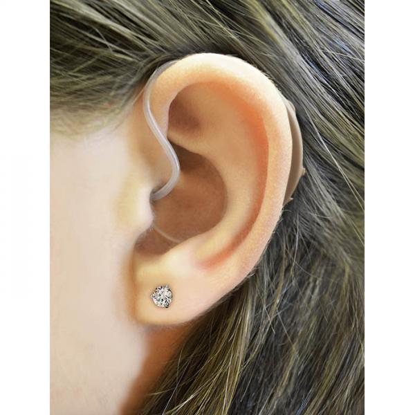 Refurbished HearClear HCZ3 Digital Hearing Aid on the ear