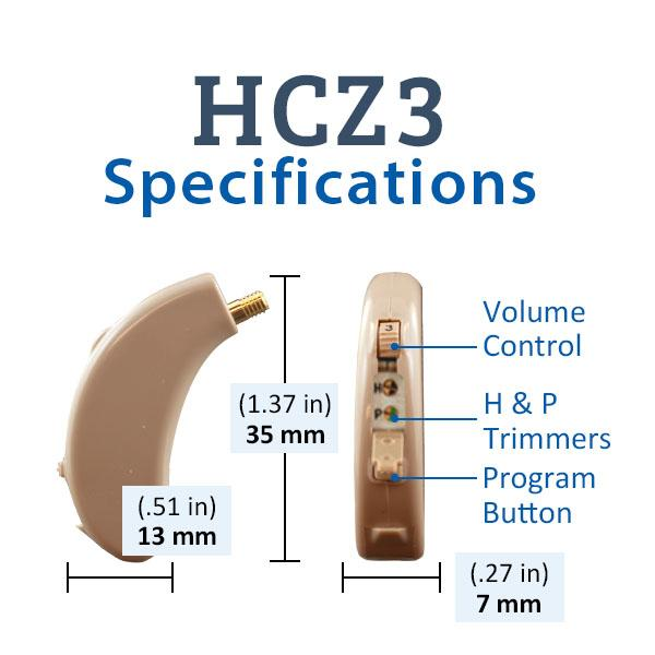 Refurbished HearClear HCZ3 Digital Hearing Aid Specifications