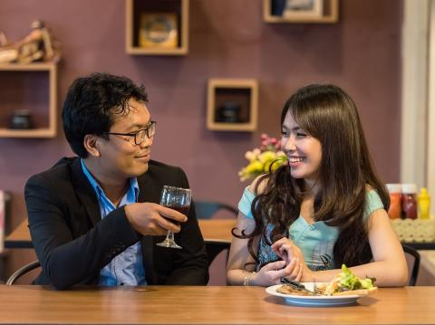 Couple eating at a restaurant